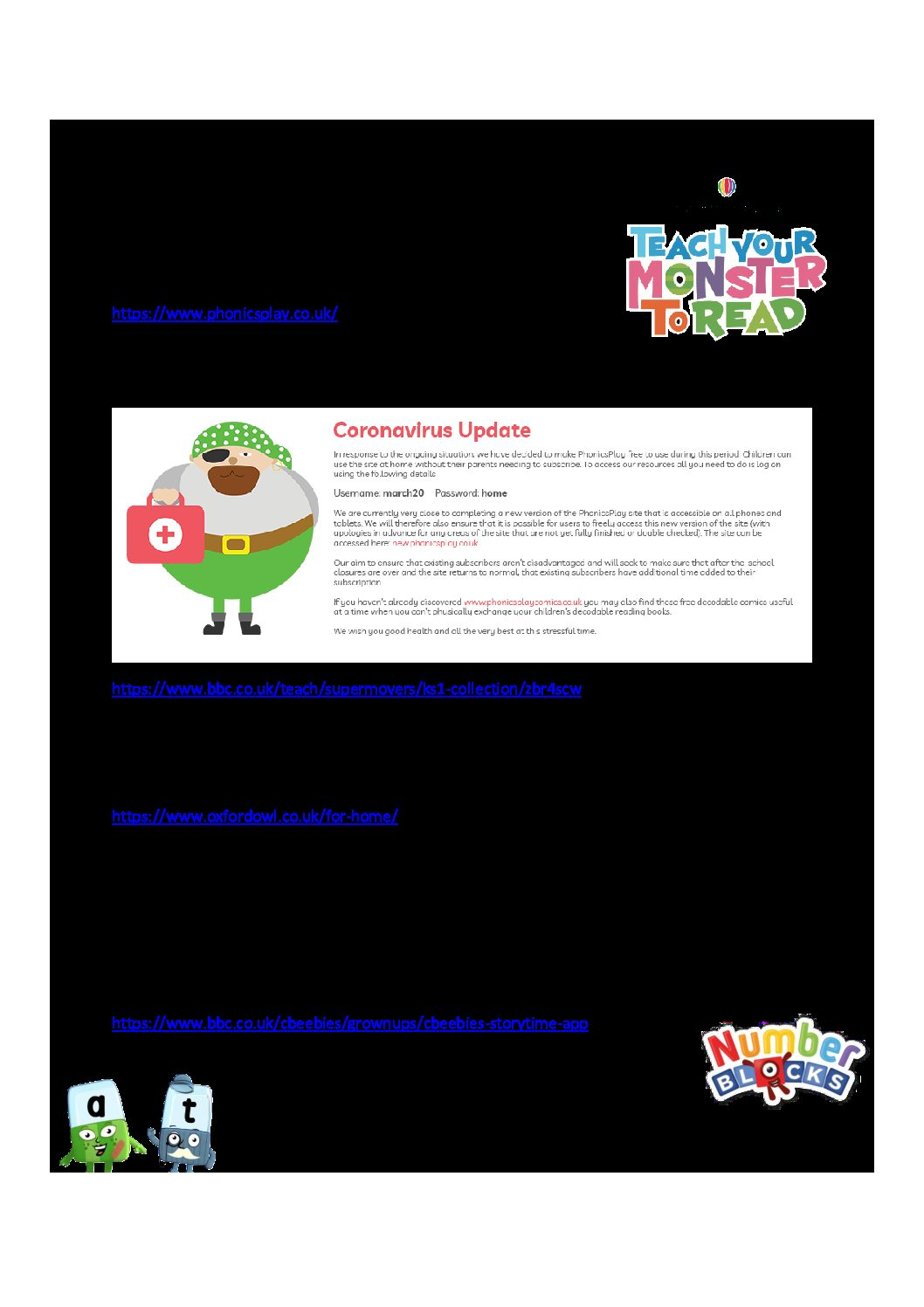 Useful Websites and Apps for Reception Children